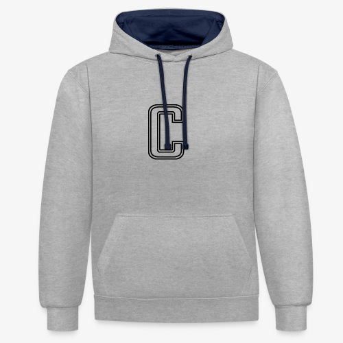 thiccc C logo WHITE - Contrast Colour Hoodie