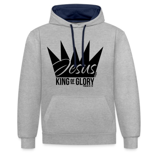 JESUS KING OF GLORY // Psalm 24:10 (BLACK) - Contrast Colour Hoodie