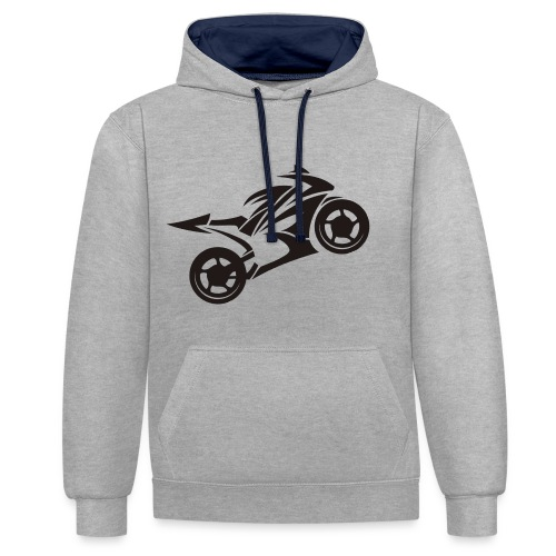 Motorcycle Wheelie - Kontrast-Hoodie