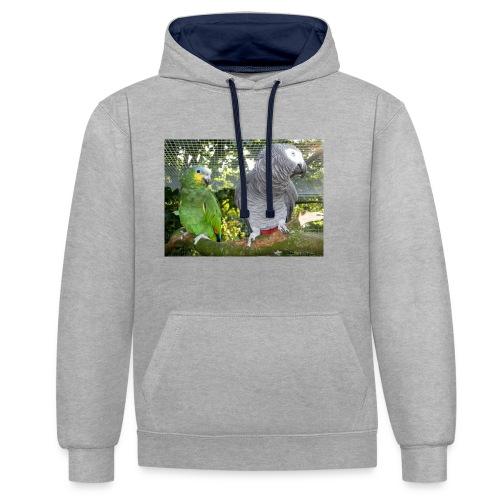 Amazone og grå - Kontrast-hættetrøje