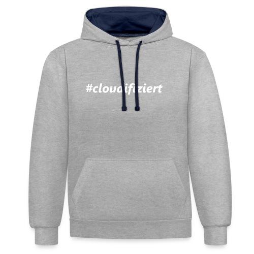 #Cloudifiziert white - Kontrast-Hoodie
