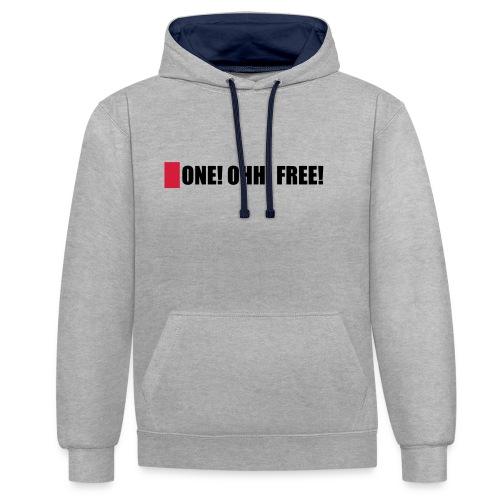 ONE! OHH! FREE! - Kontrast-Hoodie