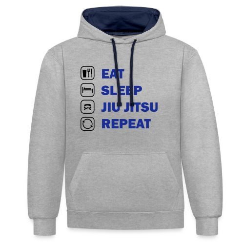 Eat, Sleep, Jiu Jitsu, Repeat - Contrast Colour Hoodie