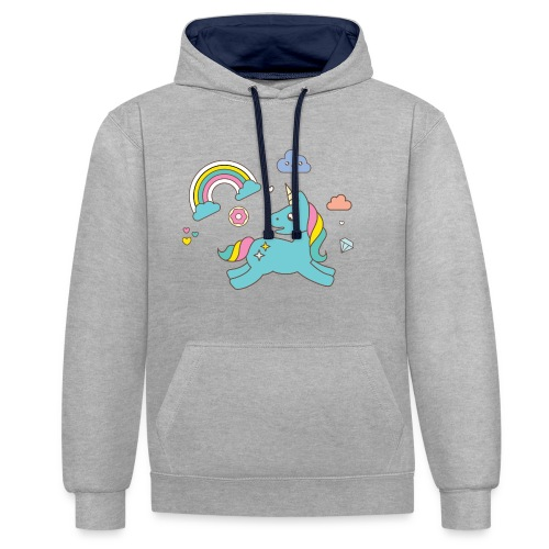 colored unicorn - Contrast Colour Hoodie