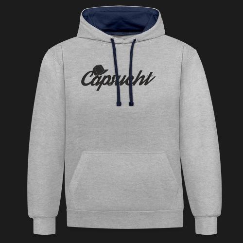 capsucht logo schwarz - Kontrast-Hoodie