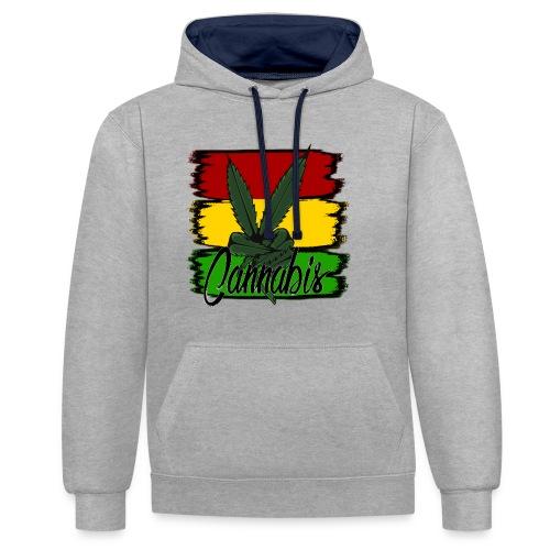 Cannabis - Kontrast-hættetrøje