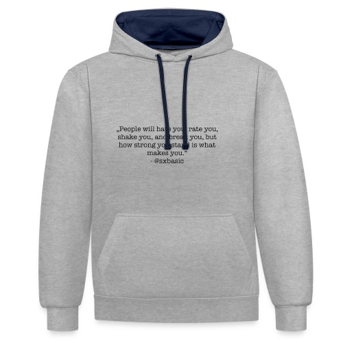 Eigener Spruch auf Pullover, T-Shirt - Kontrast-Hoodie