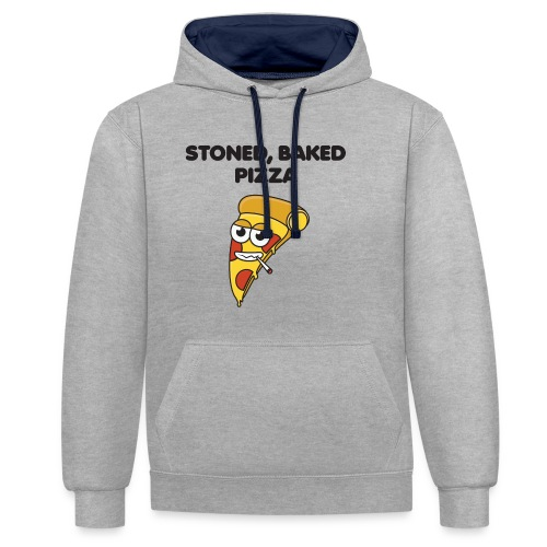 Stoned, Baked Pizza - Contrast Colour Hoodie