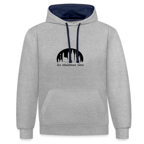 Pssssssssssssssst - it`s christmas time - Kontrast-Hoodie