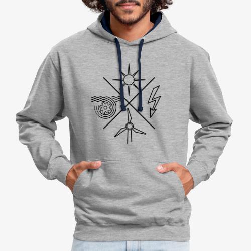 Pullover mit Logo in schwarz (ohne Schriftzug) - Kontrast-Hoodie
