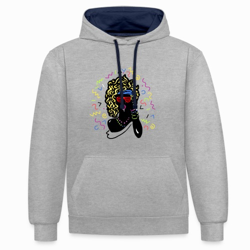 80s-girl - Contrast Colour Hoodie