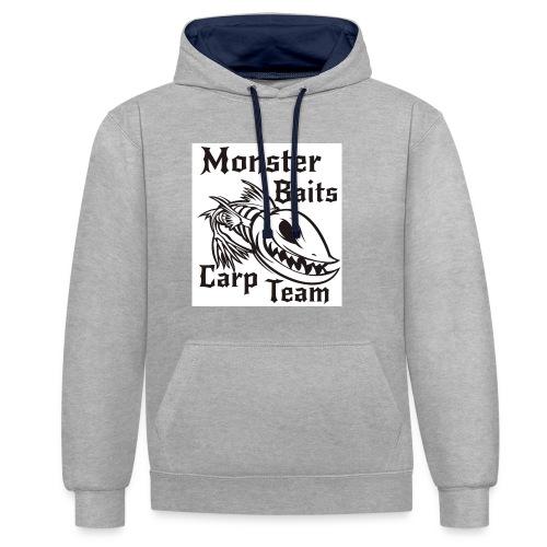 MONSTER_BAITS_WHITE - Bluza z kapturem z kontrastowymi elementami