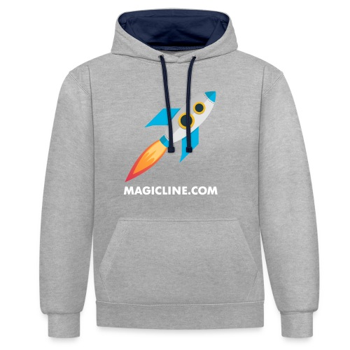 Rocket Magicline com Typo weiss DIN A3 - Kontrast-Hoodie