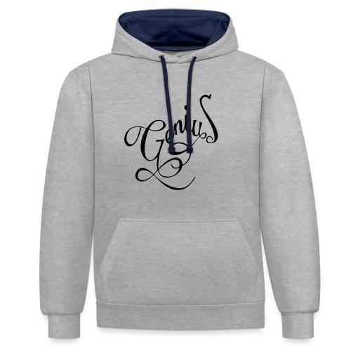 Genius T-shirt, Geek, Nerd, Street Wear, Present. - Contrast Colour Hoodie