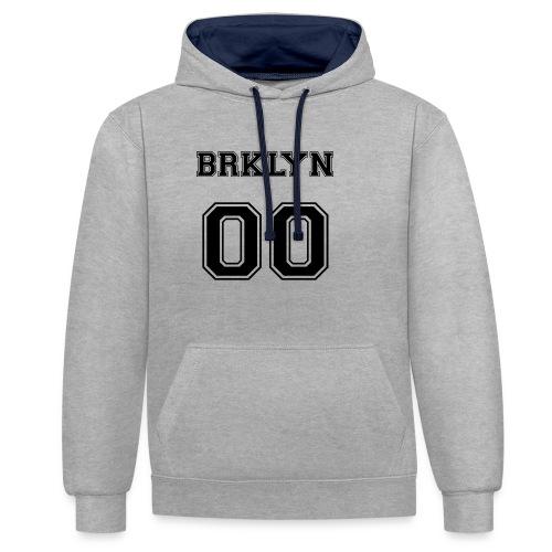 BRKLYN 00 - Felpa con cappuccio bicromatica