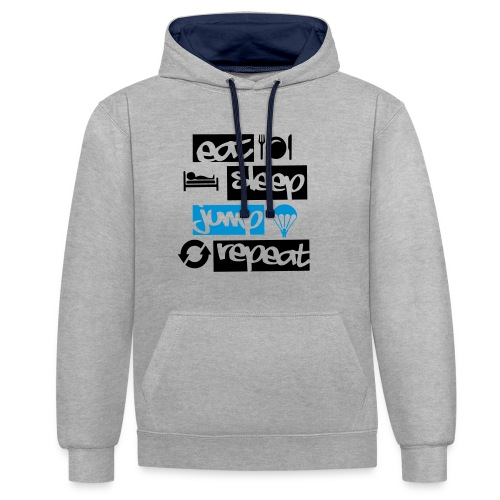 Eat Sleep Jump Repeat - Kontrast-Hoodie