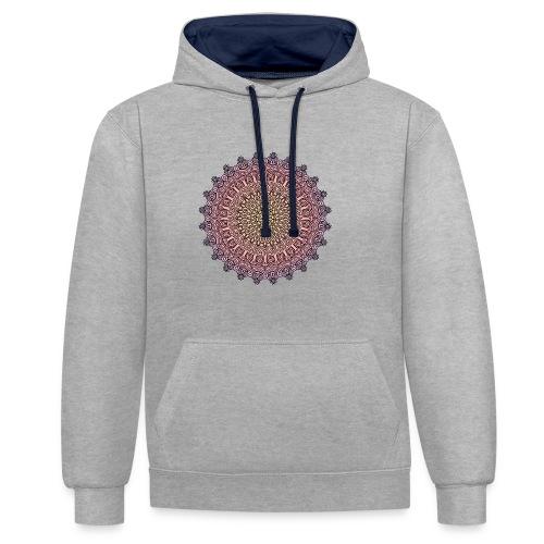 Mandala Sonnenuntergang - Kontrast-Hoodie