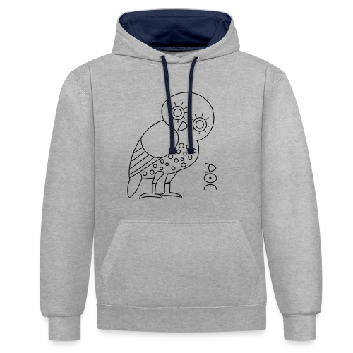 Owl of Athena - Contrast Colour Hoodie