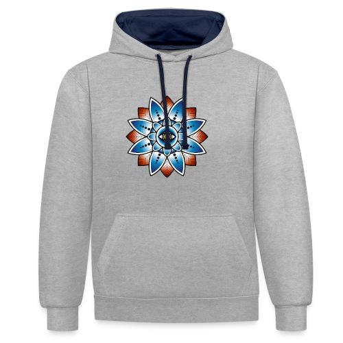 Psychedelisches Mandala mit Auge - Kontrast-Hoodie