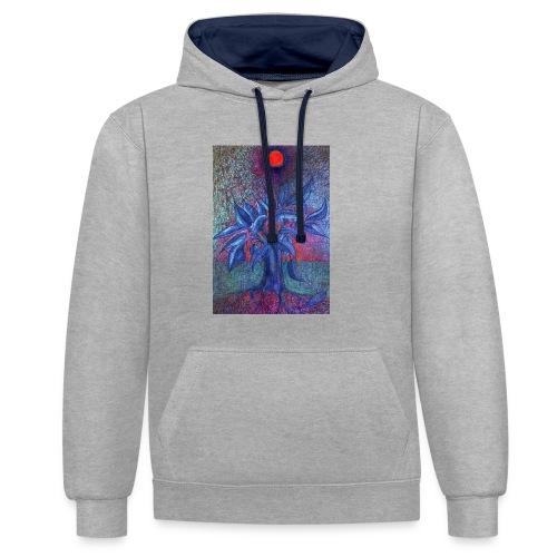 DrzewoKwiat - Bluza z kapturem z kontrastowymi elementami