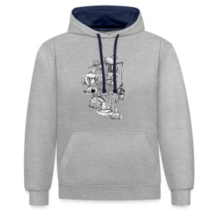 MORE FISH PLEASE JYOOK-A004 - Contrast Colour Hoodie