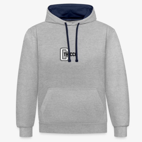 thiccc logo WHITE and BLACK - Contrast Colour Hoodie