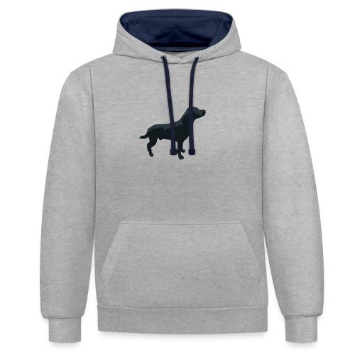 Labrador stehend - Kontrast-Hoodie