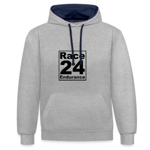 Race24 logo in black - Contrast Colour Hoodie