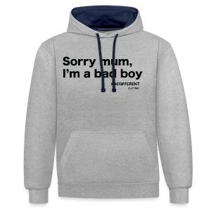 Sorry mum, I'm a BAD BOY. by #BeDifferent Clothing - Felpa con cappuccio bicromatica