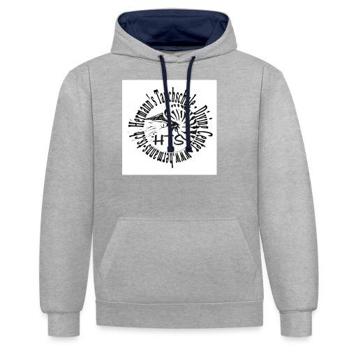 HTS Logo weiss - Kontrast-Hoodie