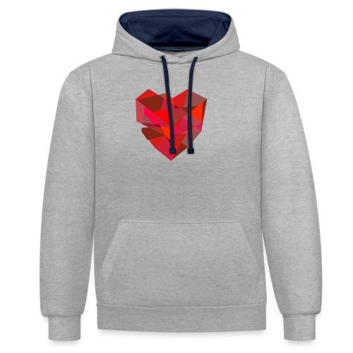 Poly-Heart - Sudadera con capucha en contraste