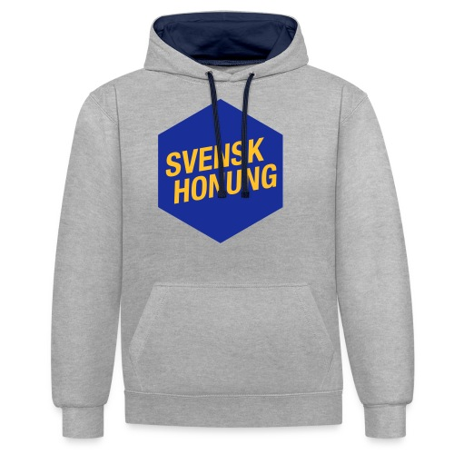 Svensk honung Hexagon Blå/Gul - Kontrastluvtröja