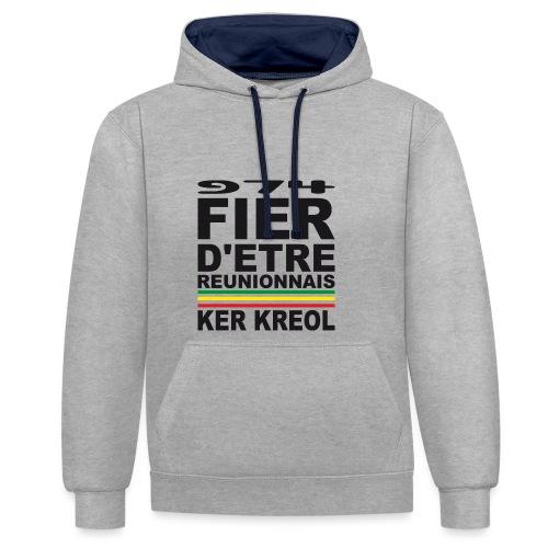 974 Fier d'être Réunionnais - 974 Ker Kreol v1.2 - Sweat-shirt contraste