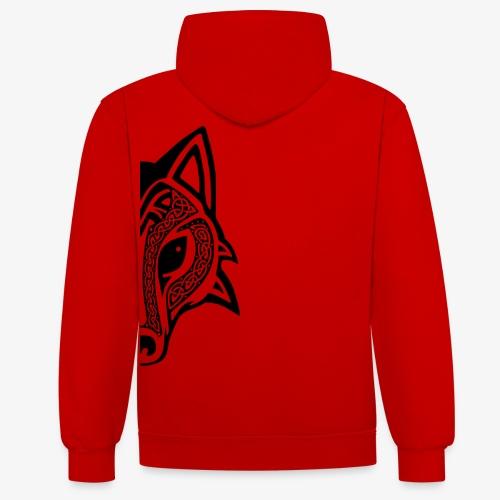Celtic Wolf half - Contrast Colour Hoodie