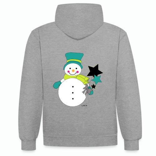 Snowtime-Green - Kontrast-Hoodie