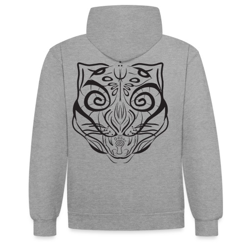 The Parvati Cat by Stringhedelic - Black - Contrast Colour Hoodie
