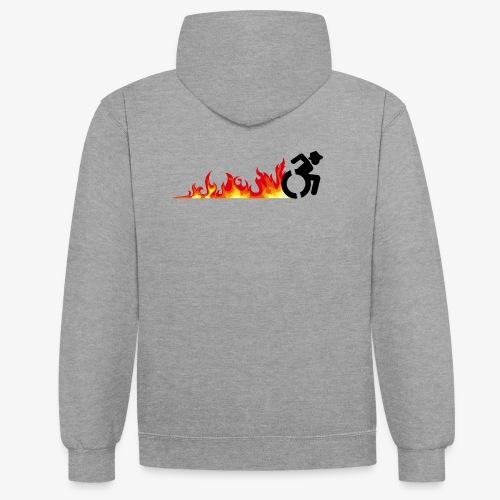 Snelle rolstoel gebruiker, vuur banden, roller 002 - Contrast hoodie