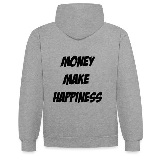 Money Make Happiness - Felpa con cappuccio bicromatica