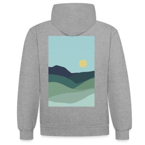 Sun over mountains - Kontrast-hættetrøje