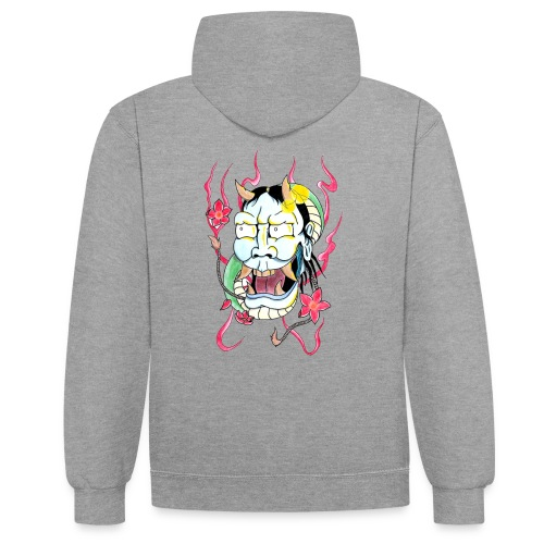 hannya mask - Contrast Colour Hoodie