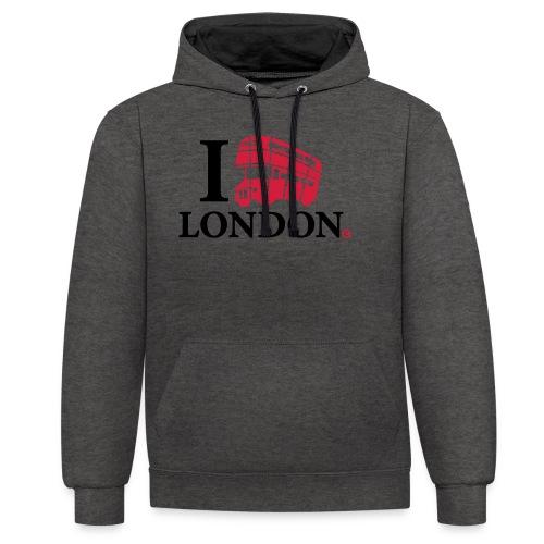 I love (Double-decker bus) London - Contrast Colour Hoodie