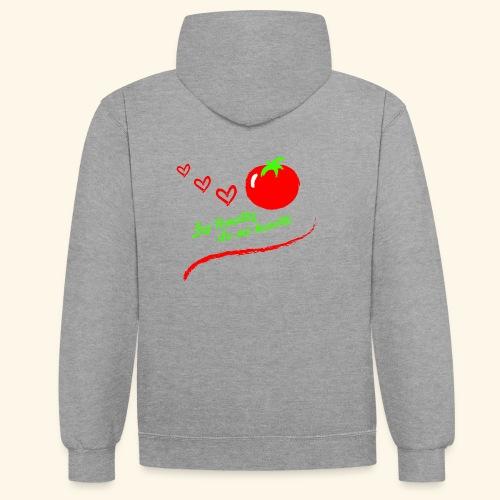 Tomates de mi huerto - Sudadera con capucha en contraste