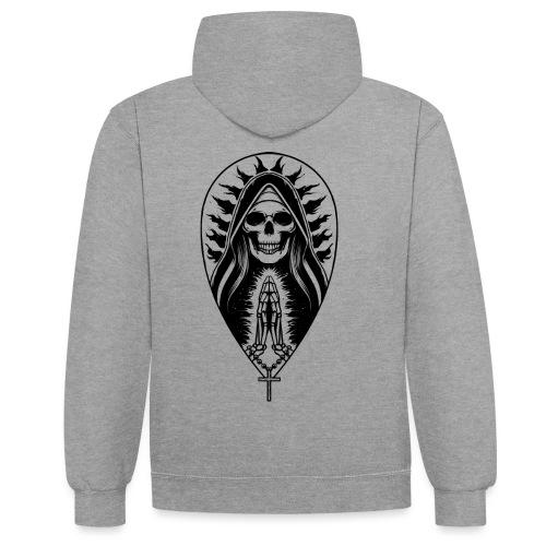 Die Heilige des Todes BLACK - Kontrast-Hoodie