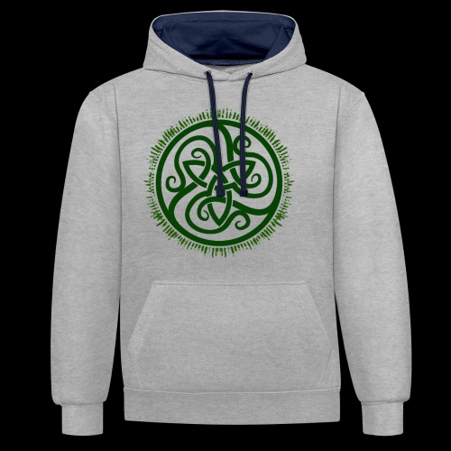 Green Celtic Triknot - Contrast Colour Hoodie