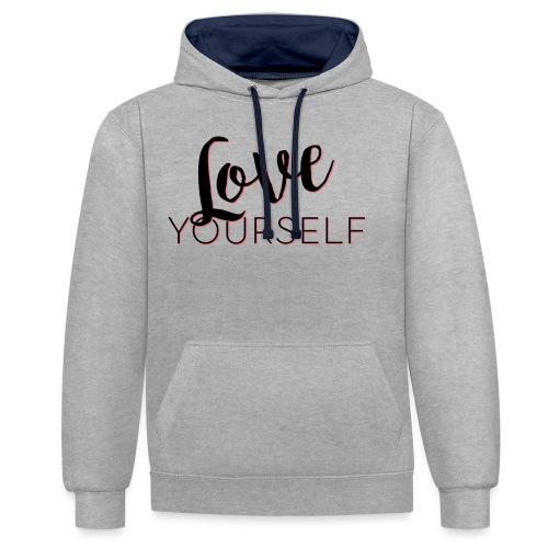 Love Yourself -Schriftzug Pascal Voggenhuber - Kontrast-Hoodie