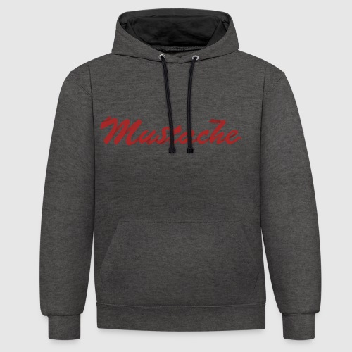 Red Mustache Lettering - Contrast Colour Hoodie