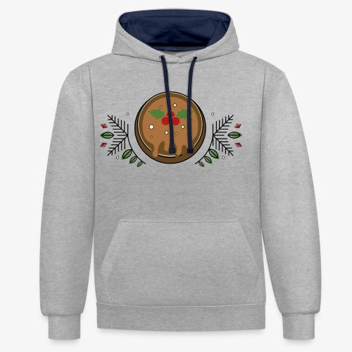 CHRISTMAS PUDDING - Contrast Colour Hoodie