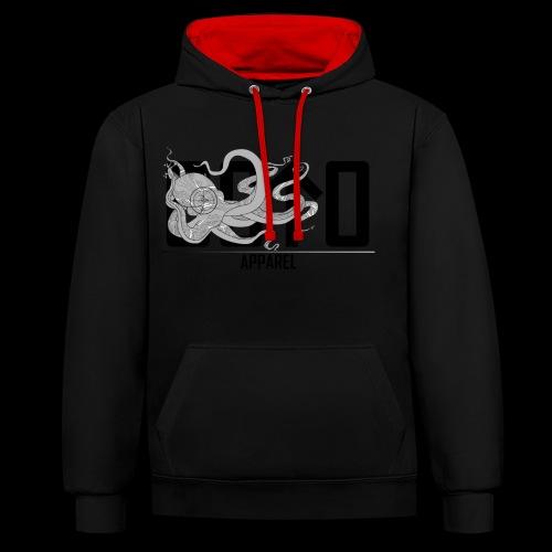 OctoApparel Logo schwarz - Kontrast-Hoodie