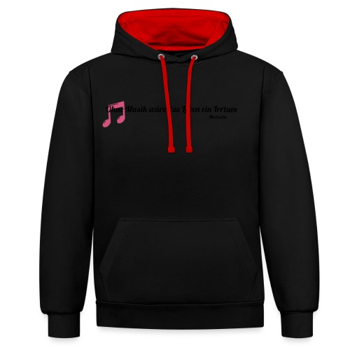 Without Music Life would be a mistake - Felpa con cappuccio bicromatica