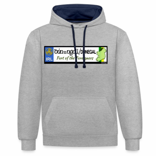 DONEGAL, IRELAND: licence plate tag style decal - Contrast Colour Hoodie